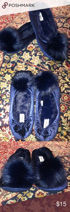 Blue Velvet Pom Pom Slippers Soft and cushiony slippers Dress up your house wear with these adorable house slippers! Squishy soles and bushy Pom poms Old Navy Shoes Slippers