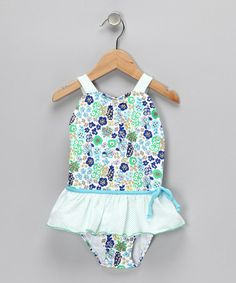 Take a look at this Blue Ruffle Skirted Sunsuit - Infant, Toddler & Girls by Sweet Potatoes on #zulily today!