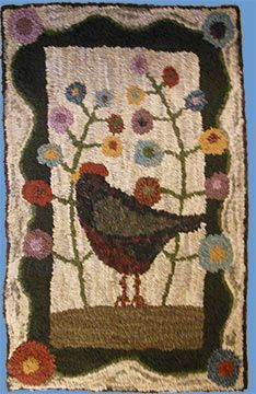 Rustic Rugs - quirky chicken walking through the flower garden Rug Hooking Designs, Rug Hooking Patterns, Quilt Patterns, Rustic Rugs, Rustic Quilts, Hand Hooked Rugs, Sheepskin Rug, Handmade Rugs, Handmade Crafts