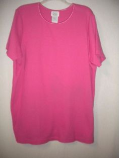 Only Necessities Plus Size 1X Thermal Short Sleeve Pink Tunic Shirt Top Blouse…