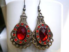 Red Brass Earrings Bridal Earrings Bridal Dangles by SevenDiamonds, $25.00