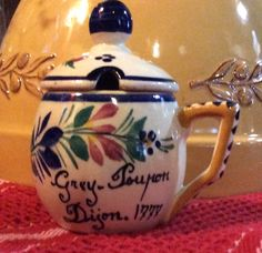 French Faience Mustard Jar, Quimper