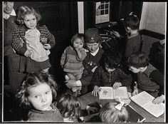 Members of the Danish womens preparedness (DKB) takes care of children who have been evacuated from the area around B & W after the British airstrikes d. January 27, 1943. No title - National Museum Collections Online