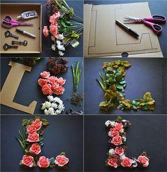 DIY Floral Letter tutorial http://cancandancer.com/2014/07/diy-floral-letter.html