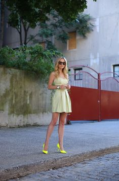 4. Neon Pumps With Pastel Dress 2017 Street Style