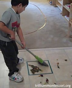 Sweeping Activity (Photo from Trillium Montessori)