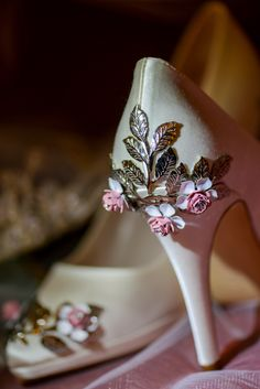 White heels with pretty floral details