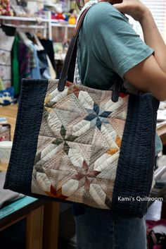 Japanese Bag, Japanese Fabric, Patchwork Bags, Quilted Bag, Denim Bag, Fabric Bags, Small Quilts, Handmade Bags, Beautiful Bags