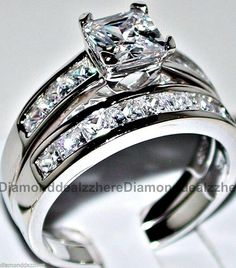 2PC Silver Cutting Square Multicolor Diamond Ring for Women Ladies Full Cubic Zirconia Wedding Engagement Jewelry