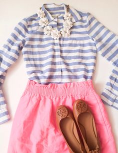 J.Crew ootd. pink, blue, statement necklace, flats. work; church