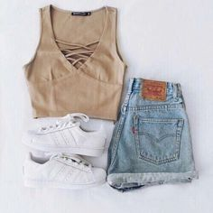 Tan Top and Denim Shorts with White Sneakers