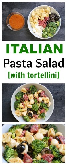 A quick and flavorful Italian pasta salad with fresh veggies, kid-friendly cheese tortellini, and prepared Italian dressing. Healthy Pasta Recipes, Healthy Pastas, Pasta Salad Recipes, Healthy Side Dishes, Side Dish Recipes, Lunch Recipes, Healthy Lunches, Yummy Recipes, Vegetarian Recipes