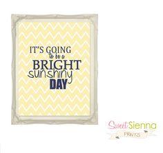 yellow/Navy Bright Sunshiny Day Nursery decor by SweetSiennaPrints, $12.00