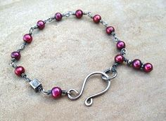Red Bracelet in Sterling Silver Wire Wrapped Cranberry Red Pearls