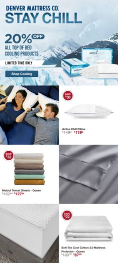 Sleep hot? ❄️ For a limited time, stay chill with 20% off all cooling pillows, sheets, and mattress protectors at Denver Mattress. #4thofjuly #freeshipping #sleepcool #denvermattress #sleep #summer Queen Sheets, Sleep Better, Best Pillow, Mattress Protector, Cool Beds, Denver, Chill, Pillows, Cool Stuff