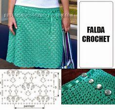 Falda Crochet con punto fácil - con esquema | Crochet y dos agujas