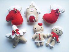 Set of 6 Felt Christmas Tree Ornaments Christmas Tree