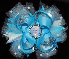 frozen elsa hair bow girls ribbon ott bow by RoshelysBowtique