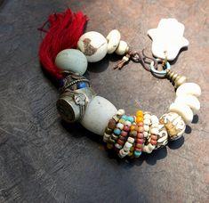 Ancient Symbols n Old Beads  Bracelet van beadsnbones op Etsy