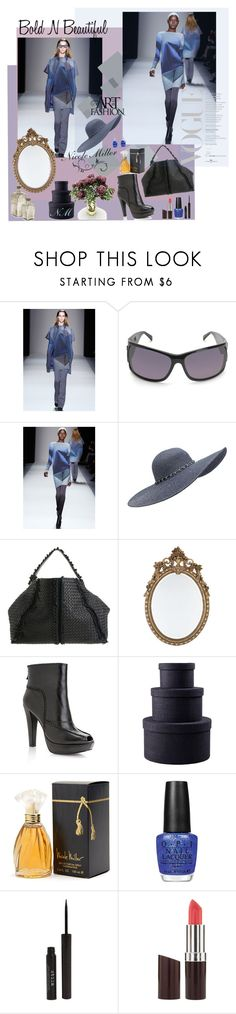 """""""nicolemiller collection*"""" by prettynposh2 ❤ liked on Polyvore featuring Nicole Miller, Forever New, Bottega Veneta, Zara, Betteridge, OPI, Stila, Rimmel and multi-color in blue & gray with accessories"""