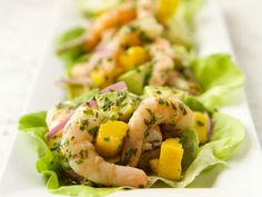 Get Shrimp Mango Lettuce Cups Recipe from Food Network... bibb lettuce, red onion, avocado, chives, cilantro