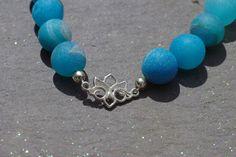 Blue Druzy Bracelet, Sterling Silver Lotus Flower Charm Bracelet Blue Druzy Quartz Bracelet Organically Formed Drusy Bracelet by BaileyBespoke on Etsy