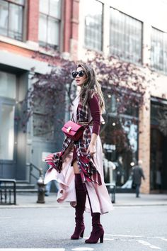 NYC Autumn Colors :: Plaid scarf & Burgundy boots :: Outfit ::  Top :: Marissa Webb vest trench Dress :: ASOS Shoes :: Stuart Weitzman Bag :: Celine Accessories :: Sole Society scarf, Burberry belt, Karen Walker sunglasses, Lulu Frost rings Published: November 4, 2016