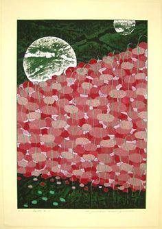"""Flower Light"" by Yuichi Hasegawa (woodblock, 2003) #woodblock"