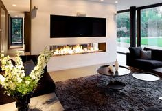 Modern living room with fireplace cozy living room design with leather furniture Linear Fireplace, Fireplace Wall, Living Room With Fireplace, Cozy Living Rooms, Fireplace Design, Living Room Modern, Living Room Designs, Living Room Furniture, Living Room Decor