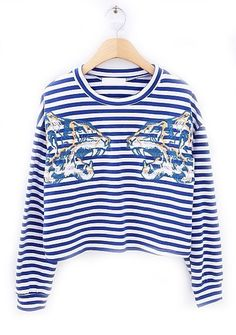 Blue Long Sleeve Striped Tiger Print T-Shirt US$31.64