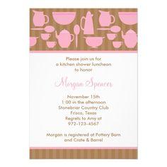 Chá de panela chique da cozinha (rosa) convite personalizado