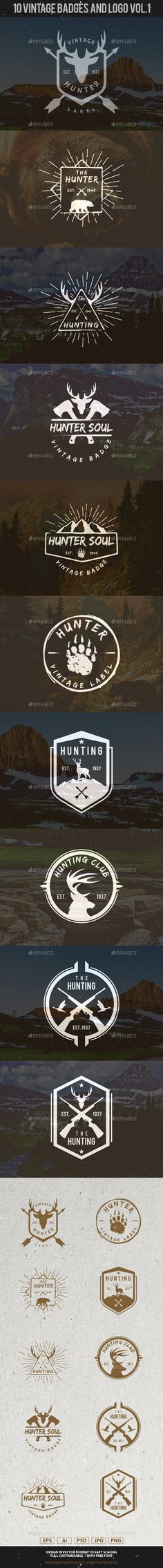 10 Hunting Vintage Badges and Logos | #vintagebadges #vintagelogo | Download: http://graphicriver.net/item/10-hunting-vintage-badges-and-logos-vol1/10308803?ref=ksioks
