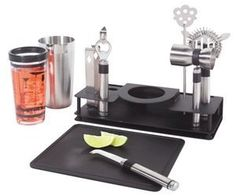 This set of bar tools is perfect for house parties. The stainless steel shaker set even comes with drink recipes on the side so that you can remember them even if you're barely sober. It also has lots of other tools like strainers and other weird metal thingies you need to go to bartenders college to learn how to use.