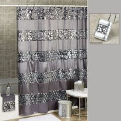 Sinatra Silver Glitter Shower Curtain Gold and silver glitter shower curtain  ammaaazzzing Decor