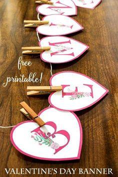 """Print this heart banner for DIY, easy Valentine& Day decor. Spells out the .Print this heart banner for DIY, easy Valentine& Day decor. Spells out the classic phrase """"Be Mine. Diy Valentine's Day Decorations, Valentines Day Decorations, Valentines Day Party, Valentine Day Crafts, Vintage Valentines, Decor Ideas, Valentine Ideas, Holiday Crafts, Diy Ideas"""