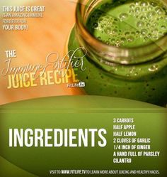 The Immune Fortifier Juice.  Do you easily get colds, cough and flu? Then this juice can help strengthen and boost your immune defense system! You should try this now. #carrots #apple #lemon #garlic #ginger #parsley #cilantro