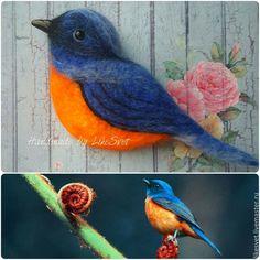 Купить Брошь птица из шерсти - разноцветный, брошь, брошь ручной работы, войлочная брошь