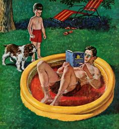 Wading Pool Dad, art by Amos Sewell.  Detail from cover August 27, 1955, Saturday Evening Post.