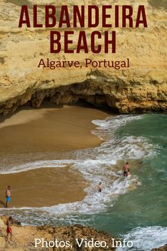 Discover Praia de Albandeira - a beach in Algarve, Portugal best admired at high tide when the waves come crashing against the rock formations - And don't miss the nearby sea carved arch! Video, photos and info to plan your visit | Portugal Travel Guide | Portugal Algarve | Algarve beach | Portugal beach