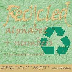 Recycled paper alphabet clipart with letters numbers by LucyPlanet