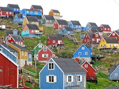 Norway. Typical houses and landscape from northern Norway. No trees cause of the hard weather at the coast