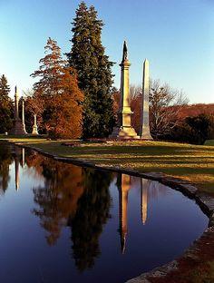 """Cincinnati - Spring Grove Cemetery & Arboretum """"Geyser Lake Obelisks Reflected"""" by David Paul Ohmer, via Flickr"""