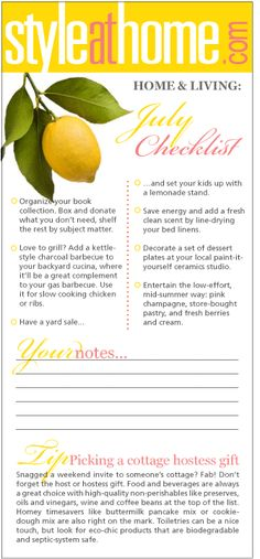 Home & living checklist: July - Style At Home