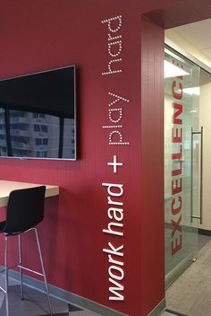 Stand off lettering white on red Office graphics and workplace branding - More…