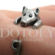 Miniature Piglet Pig Animal Wrap Ring in Silver - Sizes 4 to 8.5 Available   dotoly - Jewelry on ArtFire