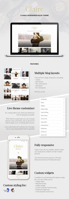 Hello! Welcome to LucaLogos store! My name is Luca and I am excited to give you a unique Classic and Responsive WordPress Theme.    Claire theme was designed with three words in mind – suble, eleg...
