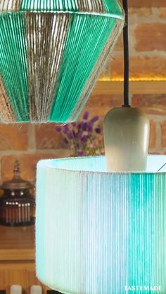 Diy Crafts For Home Decor, Diy Crafts Hacks, Diy Home Decor On A Budget, Diy Arts And Crafts, Diys, Lampshade Designs, Diy Lampshade, Lampe Decoration, Deco Nature