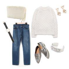 白銀 stylist:moe ponte fashion white denim knit pointedtoe