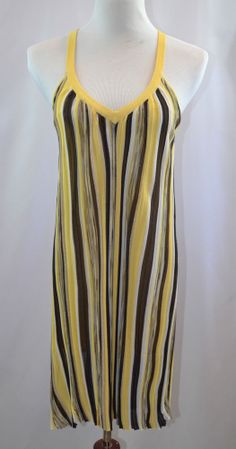 BEBE Striped Yellow and Brown Shift Sexy Dress