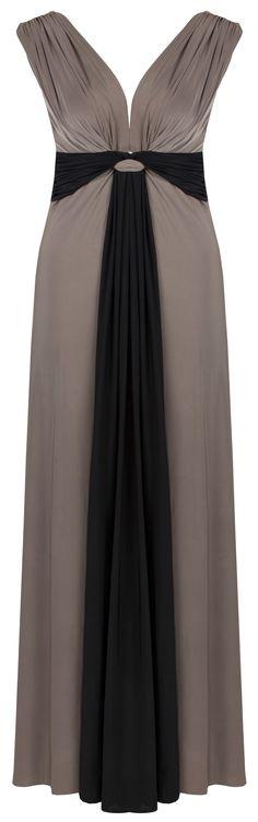 Lily Maxi Dress http://www.curvety.com/curvety-lily-draped-grecian-maxi-dress-in-mocha-and-black-p526